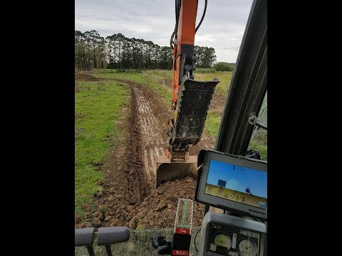 Zx120 With IDig 2D Machine Control Digging Drainage Swale - Without External Laser