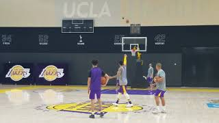 Lonzo Ball and Kyle Kuzma have half-court shot contest after practice | ESPN
