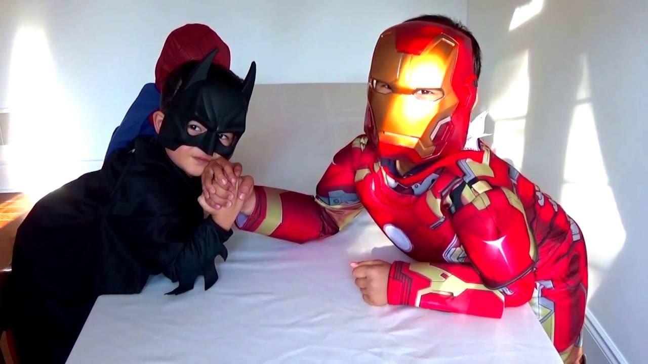 spiderman vs ironman vs batman in real life superheroes arm