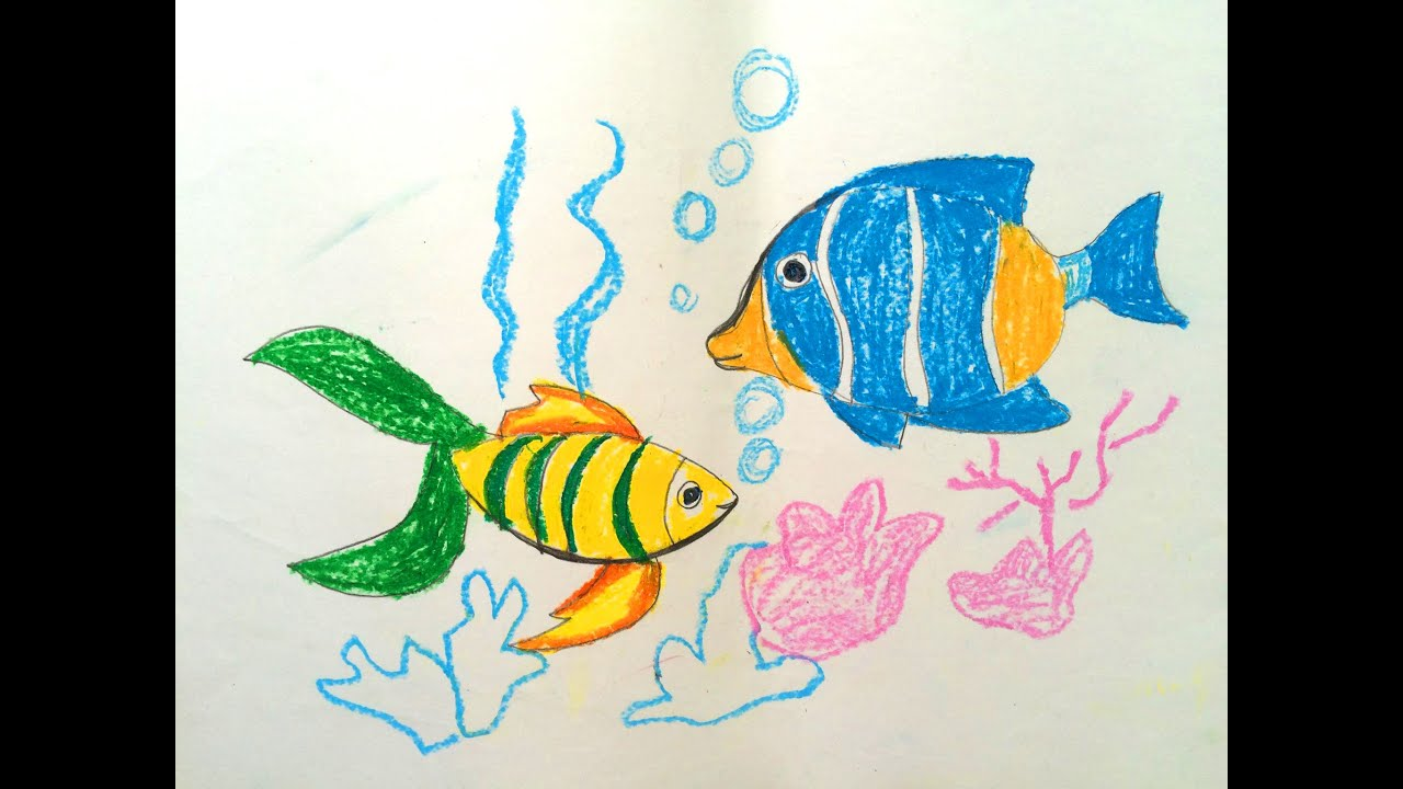 Painting animals for kids | Painting for kids | How to draw a fish ...