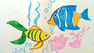 Painting animals for kids | Painting for kids | How to draw a fish for kids | Art for kids