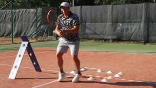 Удар с права с отскока в теннисе.