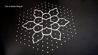 Beautiful Rangoli Design with 15X8 Dots | Easy Kolam Designs | Easy Muggulu Designs | Simple Rangoli