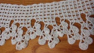 Orilla de tres medias flores Crochet