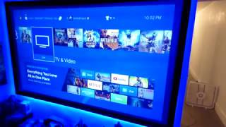 "NEW  UPDATES and my gaming room ps4 blue room with my 100"" 16:9 luminous fix frame deep silver 4K"