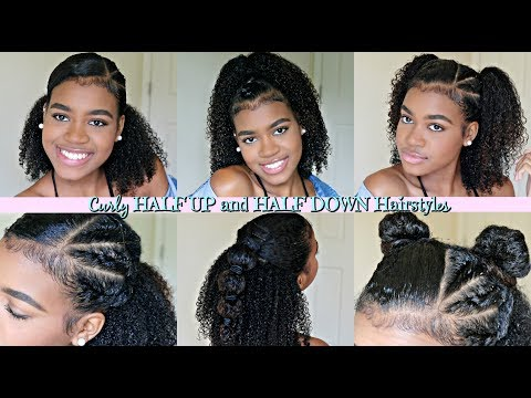 Half Up Half Down Hairstyles For Natural And Curly Hair Youtube