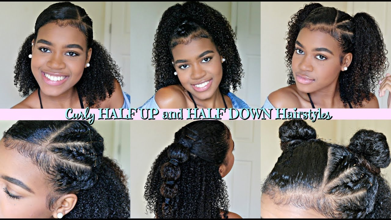 Half Up Half Down Hairstyles for NATURAL and CURLY hair! - YouTube