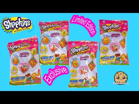 4 Shopkins Foil Fashion Tags Necklace Blind Bags, Stickers, + Surprise Blind Bag + Exclusives