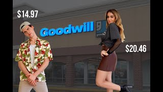 $100 GOODWILL OUTFIT COMPETITION AND TRY ON HAUL