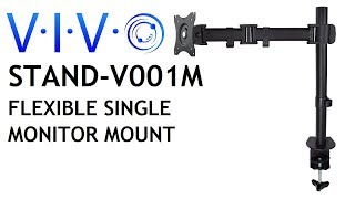 STAND-V001M Single Monitor Desk Mount Fully Adjustable Articulating Stand /For 1 LCD Screen up to 27