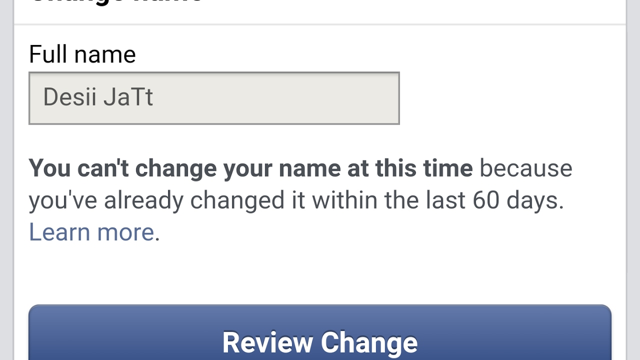 Facebook Name Change Limit