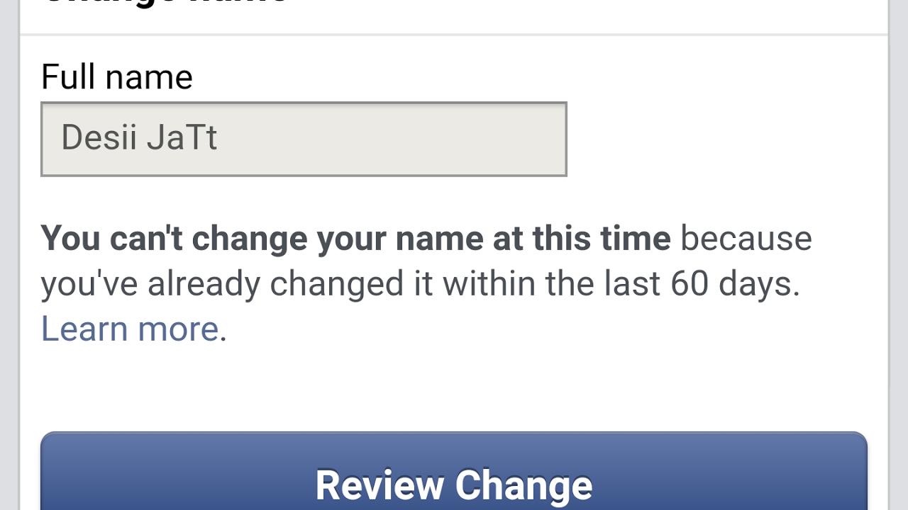 Facebook Name Change Limit