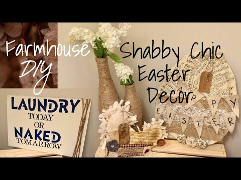 DOLLAR TREE DIY SHABBY CHIC EASTER EGG AND FARMHOUSE LAUNDRY ROOM SIGN WITH BRIE AND COY!!!