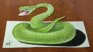 Как нарисовать 3D рисунок на бумаге. ЗМЕЯ. Speed drawing(Как нарисовать 3D РИСУНОК на бумаге. Speed drawing. Здравствуйте, в этом видео вы увидите, как нарисовать цветными..., 2016-03-09T06:54:49.000Z)