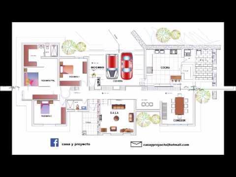 8 dise os de casas tres recamaras youtube for Planos de casas de 3 recamaras