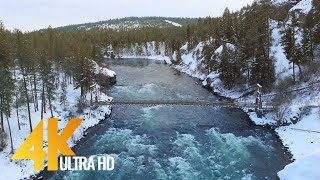 4K Drone Footage - Bird's Eye View of Snow-Covered Eastern Washington - 4 Hours Ambient Drone Film