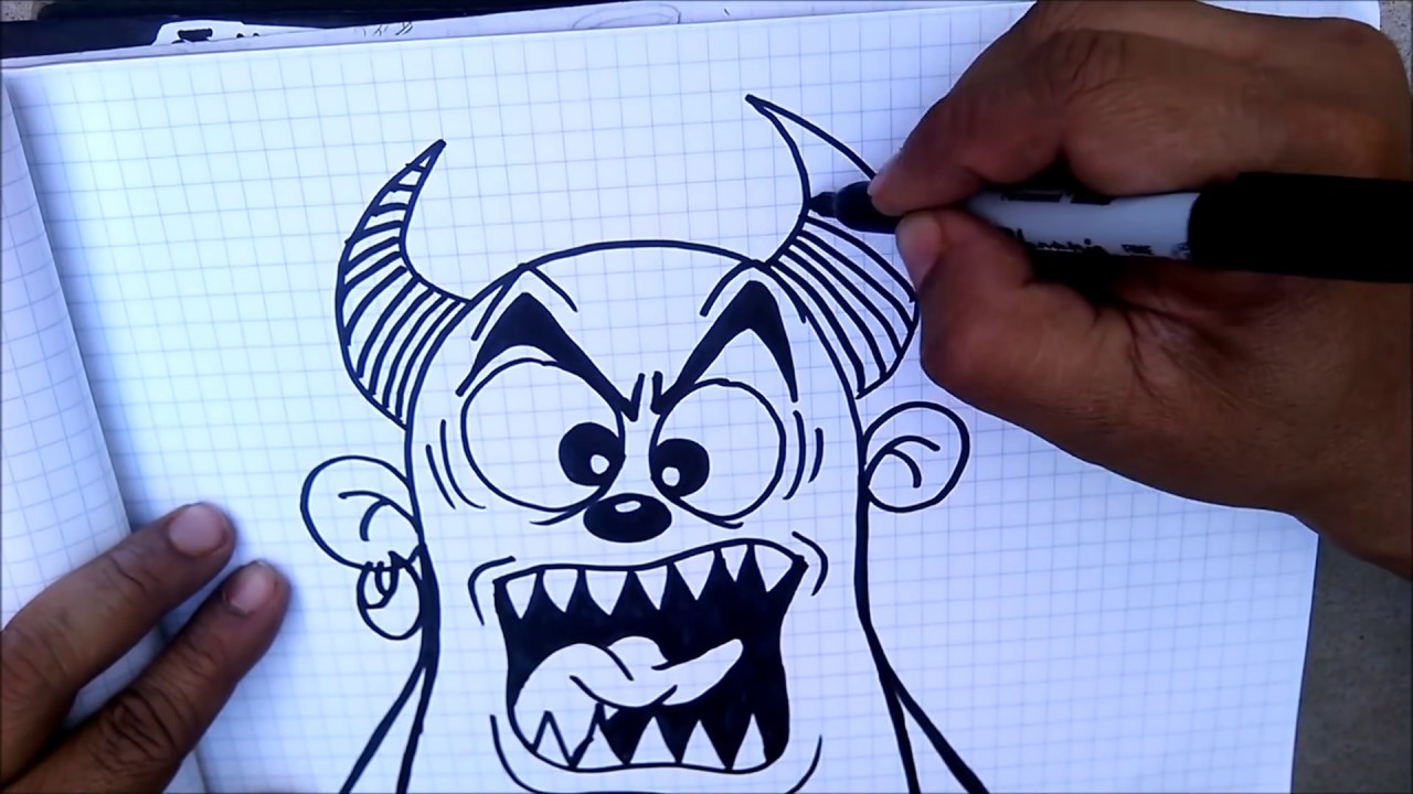 How to draw a MONSTER cartoon - graffiti character - YouTube