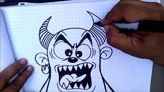How to draw a Devil cartoon -  graffiti character