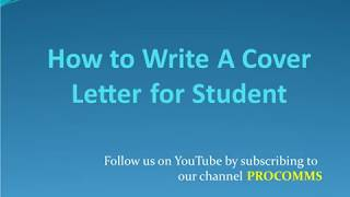How To Write A Cover Letter for Student | Cover Letter for Student | Student Cover Letter
