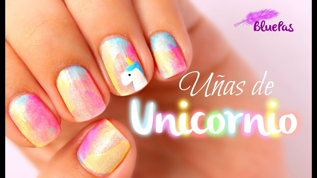 U as de unicornio mybluepas youtube - Unas decoradas faciles ...
