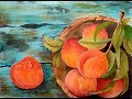 Bowl of peaches watercolor REAL TIME tutorial