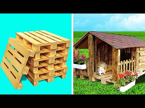 Dog House With Wooden Pallets || Huge DIY Projects