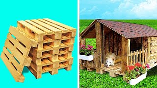 5-Minute Crafts Tech - Dog House With Wooden Pallets || Huge DIY Projects - VIDEOOO