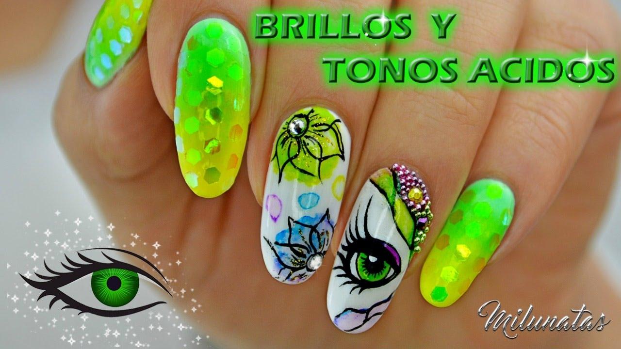 Decoración de uñas en Tonos Ácidos. (Nail art Acid tones) - YouTube
