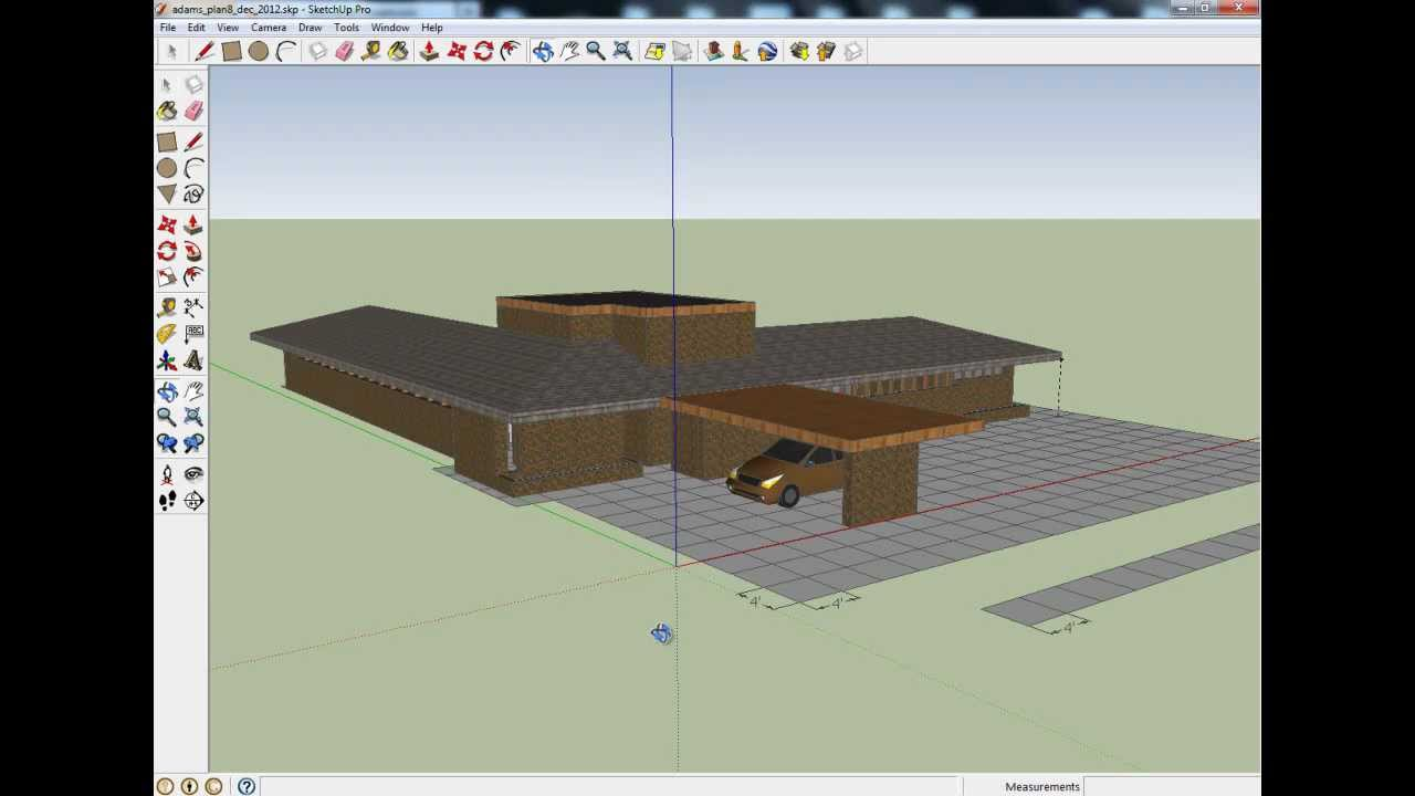 Contemporary Usonian House Plan Partially Completed In