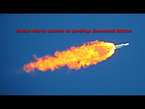 Complete SpaceX Falcon Heavy Launch to Landing Footage: Enhanced Edition