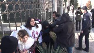 Diyanet protestosunda 5 kadına gözaltı 2017 Video