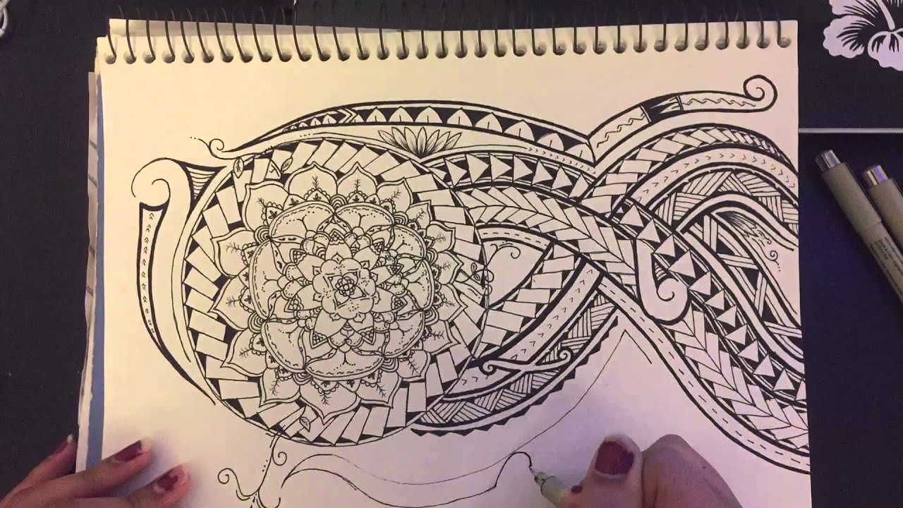 21810394a Time-lapse Drawing - Polynesian Tribal - YouTube