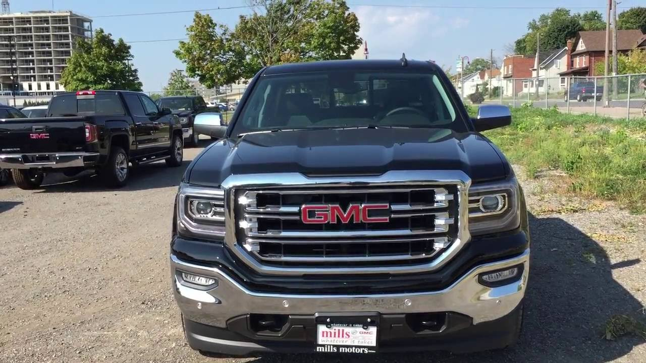 2017 gmc sierra 1500 slt 4wd crew cab black cooled seats oshawa on stock 170086 youtube. Black Bedroom Furniture Sets. Home Design Ideas