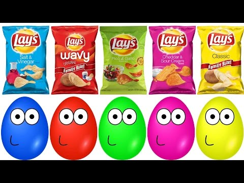 Thumbnail: Surprise Eggs Pou Opening Masha Lays Chips Finger Family Colors Learn