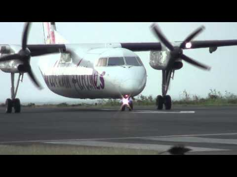 Caribbean Airlines Dash 8-300 Taxi & Takeoff @ St.Lucia [HD]