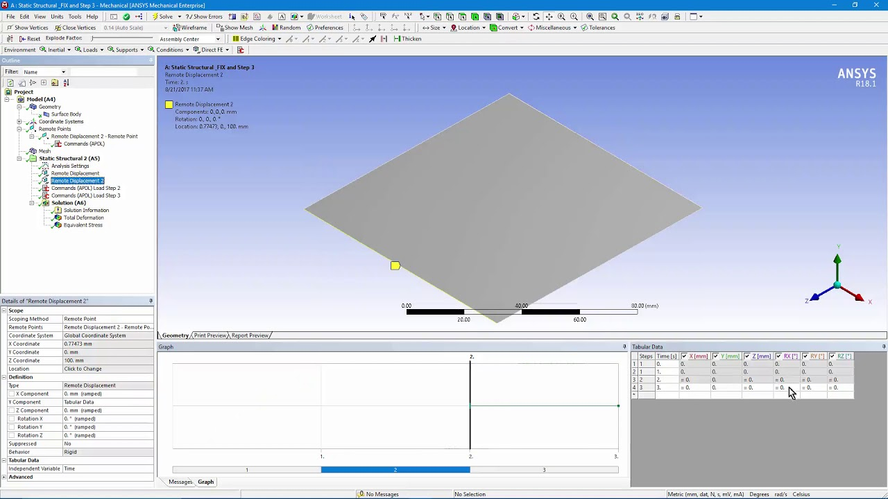 How to Add a New Displacement after a Load Step in ANSYS Workbench  Mechanical