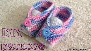 Repeat youtube video Cómo tejer patucos o zapatitos de lana para bebé, con dos agujas sin costura