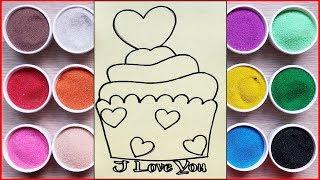 Đồ chơi trẻ em TÔ MÀU TRANH CÁT BÁNH CUPCAKE TRÁI TIM - Colored sand painting toys (Chim Xinh)