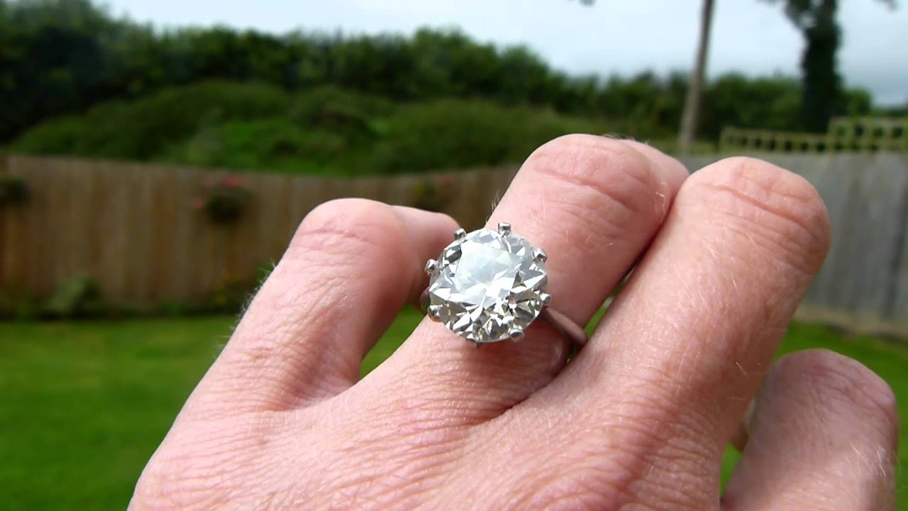6.06ct old european cut diamond solitaire - YouTube