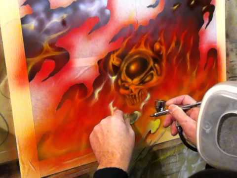 Airbrushing Ripped Panels Part 2 - Skulls and Fire