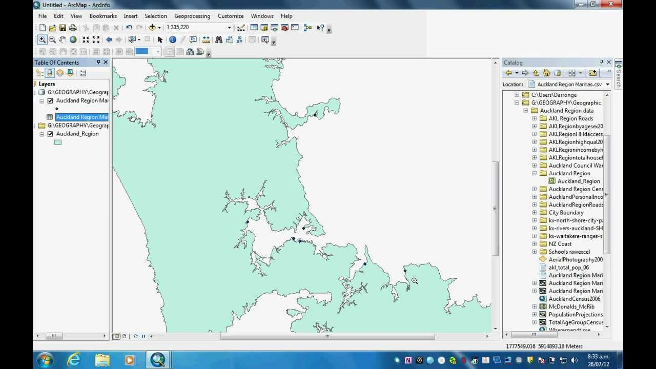 How to make a shape file for Arcmap GIS using latitude longitude ...