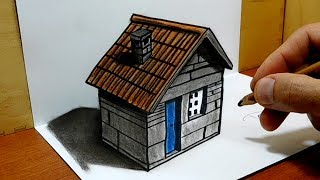3D Trick Art on Paper, How to draw a Stone house