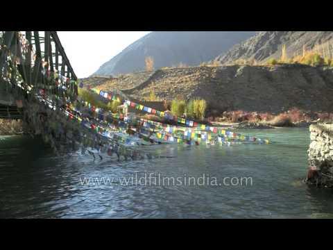 Indus river flows through Upshi Village in Ladakh
