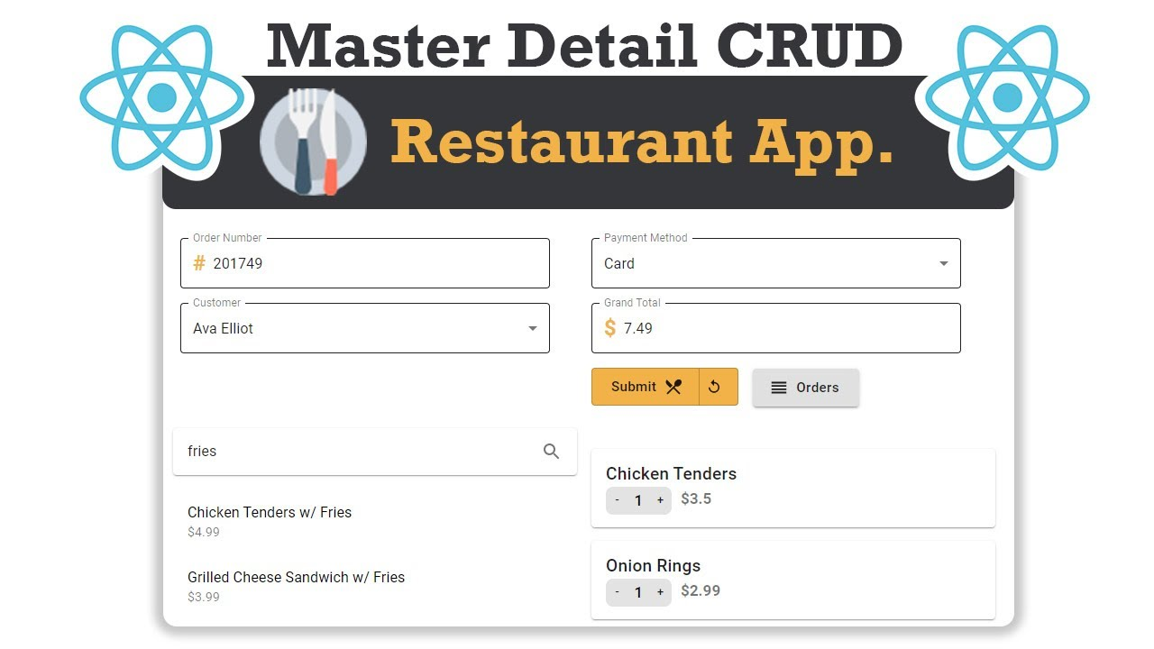 Perfect Master Detail CRUD in React JS with a Restaurant App