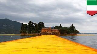 「梱包芸術家」クリスト夫妻による作品「浮かぶ橋」が、イタリアの湖に登場