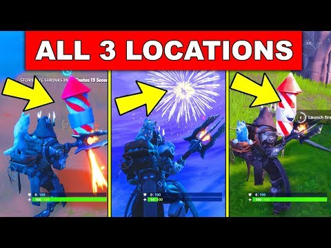 Launch Fireworks - ALL 3 LOCATIONS WEEK 4 CHALLENGES FORTNITE SEASON 7