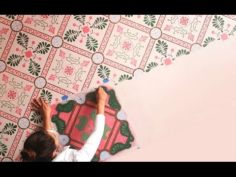 How To Paint Vinyl Flooring With Tile Floor Stencils Youtube