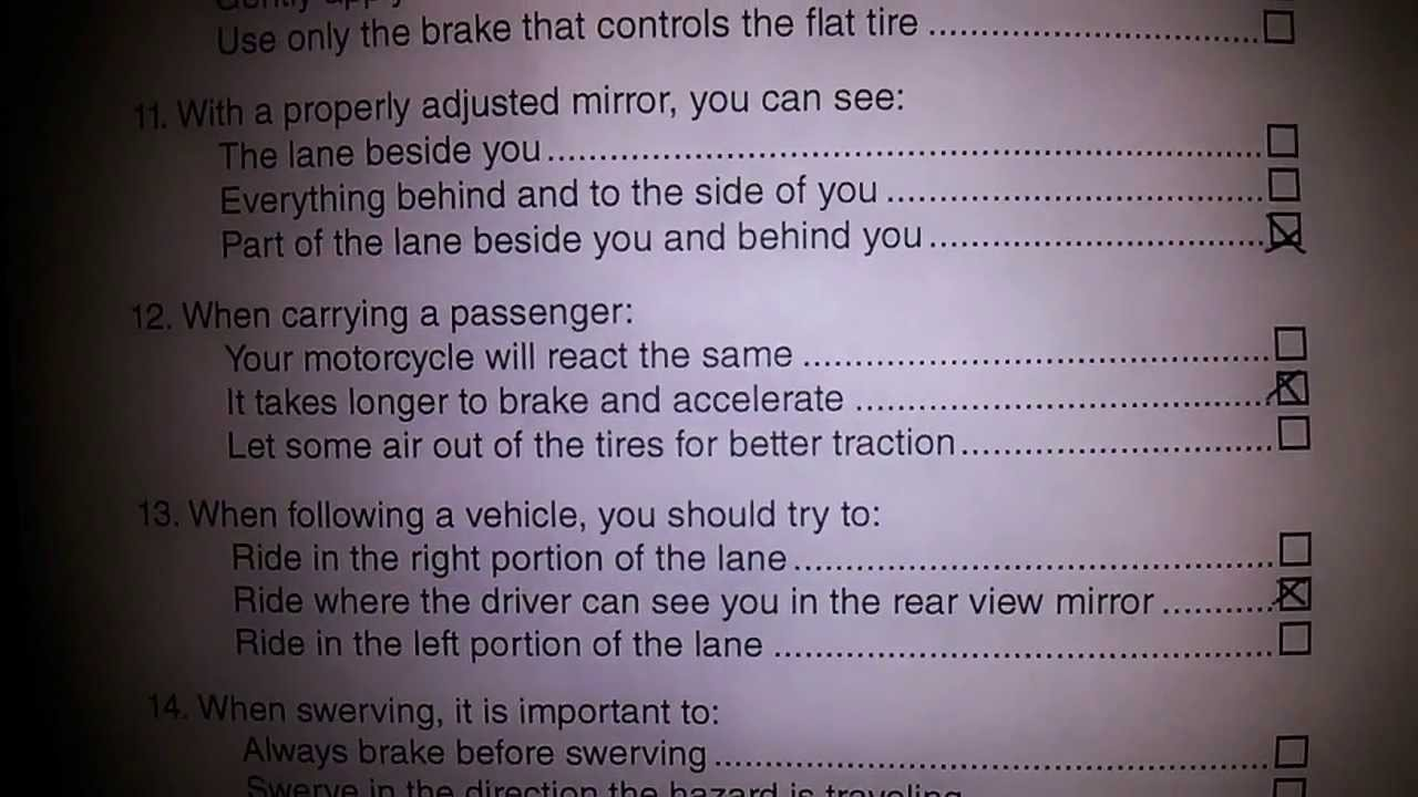 Dmv California Motorcycle Written Test