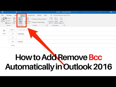 How to Add Remove Bcc Automatic in Outlook 2016