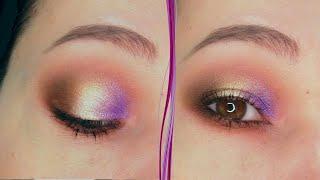 Фиолетовый золотой коричневый макияж глаз в стиле смоки айс за 5 минут Пошаговый урок